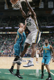 New Orleans Hornets v Utah Jazz: Jeremy Evans and Jason Smith Photographic Print by Melissa Majchrzak
