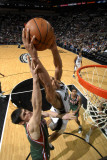 Milwaukee Bucks v San Antonio Spurs: Richard Jefferson and Ersan Ilyasova Photographic Print by D. Clarke Evans