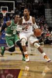 Boston Celtics v Cleveland Cavaliers: Mo Williams and Rajon Rondo Photographic Print by David Liam Kyle