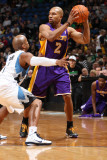 Los Angeles Lakers v Minnesota Timberwolves: Derek Fisher and Sundiata Gaines Photographic Print by David Sherman