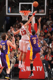 Los Angeles Lakers v Chicago Bulls: Joakim Noah and Matt Barnes Photographic Print by Andrew Bernstein