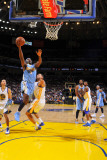 Denver Nuggets v Golden State Warriors: Ty Lawson, Stephen Curry and Dan Gadzuric Photographic Print by Rocky Widner