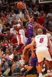 Phoenix Suns v Miami Heat: Dwyane Wade and Channing Frye Photographic Print by Victor Baldizon