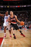 Portland Trail Blazers v Philadelphia 76ers: Brandon Roy and Louis Williams Photographic Print by Jesse D. Garrabrant