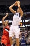Portland Trail Blazers v Dallas Mavericks: Dirk Nowitzki and Brandon Roy Photographic Print by Ronald Martinez