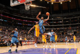 Washington Wizards v Los Angeles Lakers: Trevor Booker and Ron Artest Photographic Print by Andrew Bernstein
