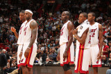 Washington Wizards v Miami Heat: Chris Bosh, LeBron James, Joel Anthony and Mario Chalmers Photographic Print by Victor Baldizon