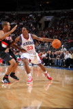 Portland Trail Blazers v Philadelphia 76ers: Louis Williams and Andre Miller Photographic Print by Jesse D. Garrabrant