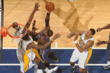 Charlotte Bobcats v Indiana Pacers: Stephen Jackson and Solomon Jones Photographic Print by Ron Hoskins