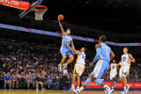 Denver Nuggets v Golden State Warriors: Chris Anderson and Stephen Curry Photographic Print by Rocky Widner