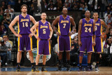 Los Angeles Lakers v Minnesota Timberwolves: Pau Gasol, Steve Blake, Lamar Odom and Kobe Bryant Photographic Print by David Sherman