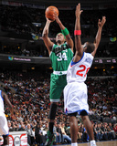 Boston Celtics v Philadelphia 76ers: Paul Pierce and Jodie Meeks Photographic Print by Jesse D. Garrabrant