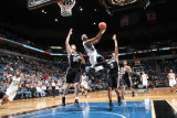 San Antonio Spurs v Minnesota Timberwolves: Matt Bonner, Corey Brewer and George Hill Photographic Print by David Sherman