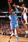 Denver Nuggets v Phoenix Suns: Channing Frye and Al Harrington Photographic Print by Barry Gossage