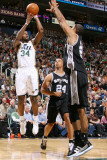 San Antonio Spurs v Utah Jazz: C.J. Miles and Tim Duncan Photographic Print by Melissa Majchrzak