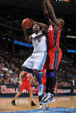 New Jersey Nets v Denver Nuggets: Ty Lawson and Johan Petro Photographic Print by Garrett Ellwood