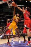 Chicago Bulls v Los Angeles Lakers: Ron Artest, Taj Gibson and Joakim Noah Photographic Print by Andrew Bernstein