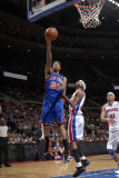 New York Knicks v Detroit Pistons: Wilson Chandler and Richard Hamilton Photographic Print by Allen Einstein