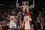 Los Angeles Lakers v New Jersey Nets: Pau Gasol, Brook Lopez and Kris Humphries Photographic Print by Andrew Bernstein