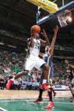 Indiana Pacers v Utah Jazz: Paul Millsap and Josh McRoberts Photographic Print by Melissa Majchrzak