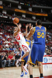 Golden State Warriors v Houston Rockets: Kevin Martin and Dan Gadzuric Photographic Print by Bill Baptist