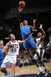 Oklahoma City Thunder v New Jersey Nets: Russell Westbrook and Kris Humphries Photographic Print by Jesse D. Garrabrant