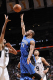 Orlando Magic v San Antonio Spurs: Jameer Nelson and Tim Duncan Photographic Print by D. Clarke Evans
