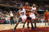 Miami Heat v Cleveland Cavaliers: Joel Anthony and Antawn Jamison Photographic Print by Nathaniel S. Butler
