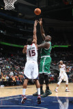Boston Celtics v Atlanta Hawks: Shaquille O&#39;Neal and Al Horford Photographic Print by Scott Cunningham
