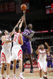 Phoenix Suns v Houston Rockets: Jason Richardson, Luis Scola and Kevin Martin Photographic Print by Bill Baptist
