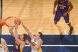 Los Angeles Lakers v Indiana Pacers: Pau Gasol and Jeff Foster Photographic Print by Ron Hoskins