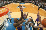 Los Angeles Lakers v Minnesota Timberwolves: Michael Beasley and Lamar Odom Photographic Print by David Sherman