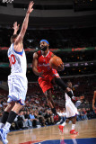 Los Angeles Clippers v Philadelphia 76ers: Baron Davis and Spencer Hawes Photographic Print by Jesse D. Garrabrant