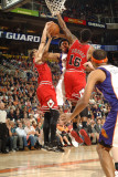 Chicago Bulls v Phoenix Suns: Josh Childress, Kyle Korver and James Johnson Photographic Print by P.A. Molumby