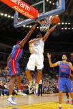 Detroit Pistons v Golden State Warriors: Tayshaun Prince, Ben Wallace and Reggie Williams Photographic Print by Rocky Widner