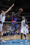 Detroit Pistons v Dallas Mavericks: Will Bynum, Dirk Nowitzki and Brendan Haywood Photographic Print by Glenn James