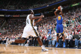 Golden State Warriors v Utah Jazz: Dorell Wright and Paul Millsap Photographic Print by Melissa Majchrzak