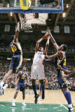 Oklahoma City Thunder v Utah Jazz: Kevin Durant, Jeremy Evans and Al Jefferson Photographic Print by Melissa Majchrzak