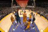 Washington Wizards v Los Angeles Lakers: Trevor Booker, Pau Gasol and Ron Artest Photographic Print by Andrew Bernstein