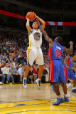 Detroit Pistons v Golden State Warriors: Stephen Curry and  Will Bynum Photographic Print by Rocky Widner