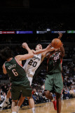 Milwaukee Bucks v San Antonio Spurs: Manu Ginobili andrew Bogut and Luc Mbah a Moute Photographic Print by D. Clarke Evans