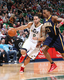 Indiana Pacers v Utah Jazz: Deron Williams and Brandon Rush Photographic Print by Melissa Majchrzak
