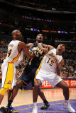 Indiana Pacers v Los Angeles Lakers: Roy Hibbert, Kobe Bryant and Ron Artest Photographic Print by Andrew Bernstein