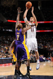 Los Angeles Lakers v New Jersey Nets: Brook Lopez and Lamar Odom Photographic Print by Andrew Bernstein