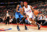 Orlando Magic v Los Angeles Clippers: Ryan Gomes and Mickael Pietrus Fotografisk tryk af Noah Graham