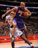 Los Angeles Lakers v Los Angeles Clippers: Derek Fisher and Jarron Collins Photographic Print by Noah Graham