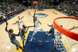 Charlotte Bobcats v Memphis Grizzlies: Rudy Gay, Nazr Mohammed and Stephen Jackson Photographic Print by Joe Murphy