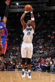 Detroit Pistons v Orlando Magic: Mickael Pietrus Fotografisk tryk af Fernando Medina