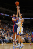 Detroit Pistons v Golden State Warriors: Tayshaun Prince and Monta Ellis Photographic Print by Rocky Widner