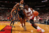 Indiana Pacers v Miami Heat: Dwyane Wade and Brandon Rush Photographic Print by Victor Baldizon